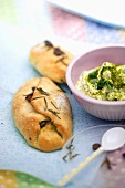 Olive bread with a pistachio-sheep's cheese dip