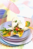 Goat's cheese wrap with cherry tomatoes, pepper and rocket