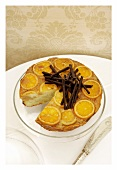 Marmalade cake with orange zest and chocolate rolls