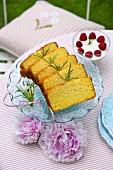 Lemon polenta cake, sliced