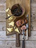 Duck breast with port & orange sauce & Tête-de-Moine cheese