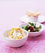 Deep-fried pearl barley with yoghurt, cumin and salad leaves