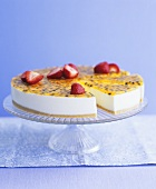 Passion fruit and strawberry cheesecake