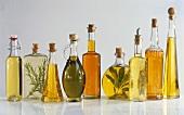 Various flavoured oils in bottles