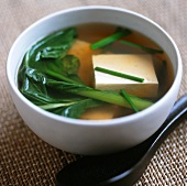 Miso soup with tofu and vegetables