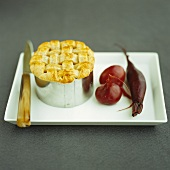 Mini chicken pie with pickled beetroot