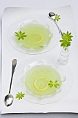 Cold woodruff soup with lemon