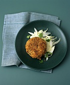 Mackerel fish cake on fennel salad