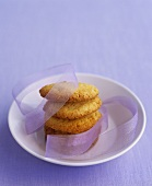 Lemon biscuits with a gift ribbon