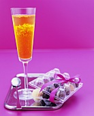 Prosecco and saffron jelly with chocolate truffles