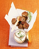 Lentil balls with yoghurt and dill dip