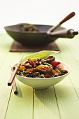 A bowl of stir-fried beef with ramsons (wild garlic) & peppers