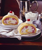 Sponge roll with cheese cream and rhubarb filling