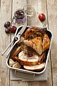 Roast chicken with a plum stuffing