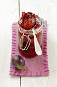 Plum jam in a jar