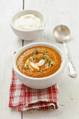 Cream of cherry tomato soup with sour cream