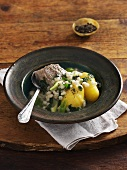 Stinging nettle soup with tender wheat, beef and potatoes