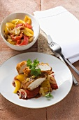 Chicken breast with a medley of peppers