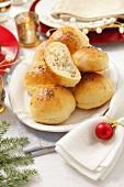 Yeast dough rolls filled with sauerkraut for Christmas dinner