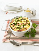 Green cabbage and potato bake with ham