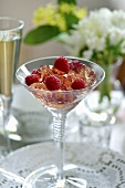 Rose jelly with raspberries