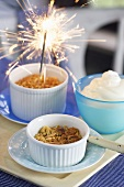 Apple crumbles with sparklers