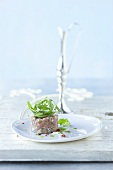 Veal tatar with fennel and basil oil