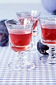 Glasses of plum schnapps