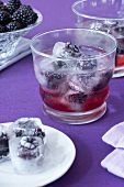 Blackberry juice and blackberry ice cubes