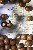 Macadamia nuts from Israel on a map