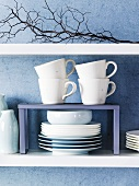 White crockery on shelf