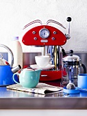 Espresso machine, teapot and kettle