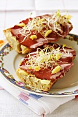 Coppa, mayonnaise and sprouts on bread