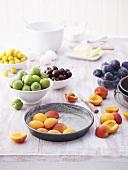 Fresh stone fruit and baking ingredients