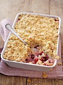 Cranberry crumble in baking dish