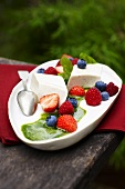 Panna cotta con salsa di basilico (Cream dessert with berries)