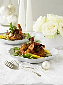 Coconut saffron prawns with mango salad (Christmas)