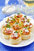 Vol-au-vents filled with smoked salmon and surimi