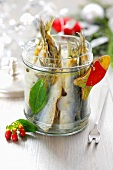 Marinated fried herrings for Christmas
