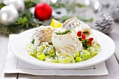 Cod rolls with creamed leeks (Christmas)