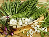 White and red spring onions
