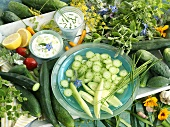 Cucumber with tzatziki and yoghurt and chive dip