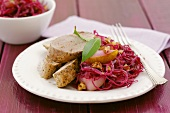 Pork fillet with red cabbage and pear salad