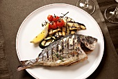 Grilled sea bream with aubergines