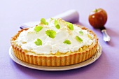 Apple meringue tart with lemon balm