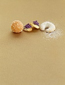 Vanilla biscuits, lavender biscuits and orange-marzipan confectionary