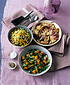 Rocket and pumpkin salad, succotash and a fennel and onion gratin