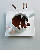 Chocolate fondue with marshmallows