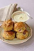 Cranberry scones with clotted cream