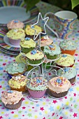 Cupcakes on a cake stand (bonfire night, England)